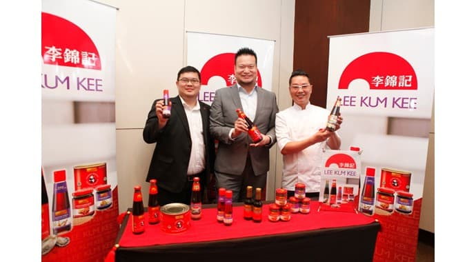 Mr. Verdy Ricardo Tjhoei, Business Manager, Indonesia of Lee Kum Kee (left); Mr. Leslie Lau, Managing Director - South Asia of Lee Kum Kee (center); and Michelin-starred Chef Kwok-keung Chan pictured at Food & Hotel Indonesia (FHI) 2019 on Thursday (25/7).""